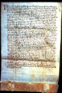 Contratto di soccida di due mandrie di vacche del monastero di San Martino dell'anno 1349 E' il primo documento conosciuto relativo alla produzione del già allora famoso formaggio Parmigiano. Ricordiamo che il Boccaccio scrisse il Decamerone, citando il Parmigiano, proprio in quell'anno 1349. (Archivio di Stato di Parma)