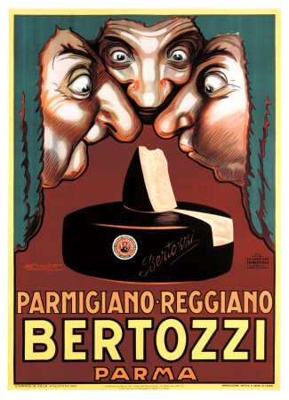 2. Manifesto di Achille Luciano Mauzan per il formaggio Bertozzi (Museo del Parmigiano Reggiano).