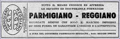 7. Campagna pubblicitaria del 1953 (Consorzio del Parmigiano Reggiano).
