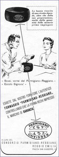 8. Campagna pubblicitaria del 1954 (Consorzio del Parmigiano Reggiano).