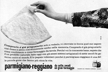 10. Campagna pubblicitaria del 1964 (Consorzio del Parmigiano Reggiano).
