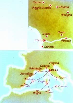 Zona di diffusione del Parmigiano in Toscana nel '300 e rotte commerciali pisane. I pisani furono i primi a trasportare il Parmigiano al di fuori d'Italia nel mediterraneo occidentale.