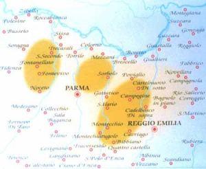 L'area di produzione del Parmigiano e del Reggiano alla metà del Seicento. Le aree più scure rappresentano quelle con maggiore concentrazione di caseifici.