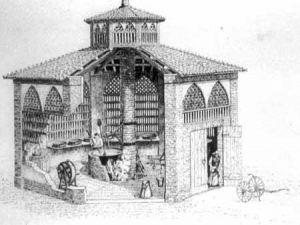 L.Confortini, Spaccato di un caseificio reggiano del 1870 circa.