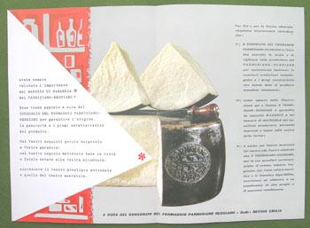 Depliant pubblicitario del 1957: Archivio Consorzio Parmigiano Reggiano