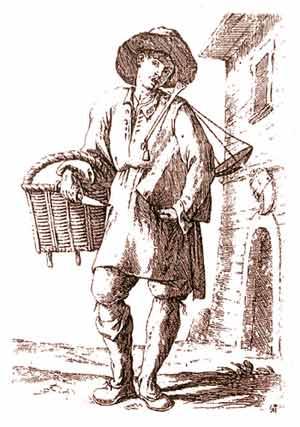 Il venditore di formaggio: Giuseppe Maria Mitelli. Acquaforte su carta, XVII secolo