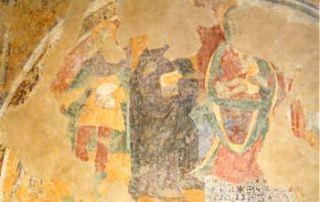 Passo di San Lucio – Cavargna (CO) – Oratorio di San Lucio - Parete Nord: Madonna in trono che allatta il bambino con Sant'Antonio Abate e San Lucio