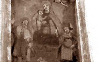 """Corrido (CO) – Diocesi di Milano - Dipinto murale """"Madonna in trono col Bambino fra San Rocco e San Lucio"""" – Frazione Cancellino (XVIII sec.)"""