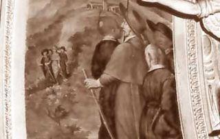 Porlezza (CO) – Diocesi di Milano - Chiesa prepositurale di San Vittore - Affresco di San Carlo in visita all'Oratorio di San Lucio