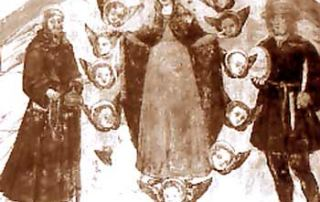 Dasio – Valsolda (CO) – Diocesi di Milano - Chiesa di San Bernardo, dipinto murale (1516) Al centro della navata compare dipinta sul muro entro una lunetta un'immagine a trittico: la Madonna in gloria con accanto San Miro e San Lucio. L'opera, realizzata parte ad affresco e parte a secco, risulta datata al 1516 da un'iscrizione posta al centro della lunetta. San Luguzzone, alla destra della Vergine, indossa un corto saio bruno su calzamaglia del medesimo colore e semplici calzari. Dal copricapo da pellegrino sporgono riccioli biondi, mentre nelle mani reca i consueti attributi: forma di cacio e coltello. (P. Villa).