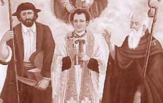 Canedo (Val d'Isone) – Diocesi di Lugano - Oratorio dei Santi Lucio, Giulio e Antonio, Pala dell'altar maggiore, olio su tela, Ernesto Vicari (1906)