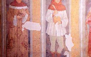 Cogliate (MI) - Santuario della Beata Vergine di San Damiano, Dipinto murale - Diocesi di Milano - L'affresco ritrae San Lucio secondo la sua iconografia tradizionale: in mano una forma di formaggio, mancante di una fetta, nell'altra un coltello da casaro, in abito ben curato (G. Grandi).