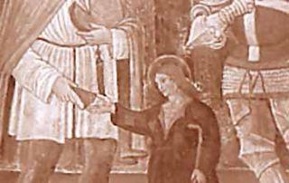 Lurago Marinone (CO) - Parrocchia di San Giorgio, Dipinto murale - Diocesi di Milano - Affresco raffigurante San Luguzzone e San Protasio a destra, ora nella parrocchiale di Lurago Marinone e forse proveniente dall'Oratorio di San Rocco (G. Grandi).