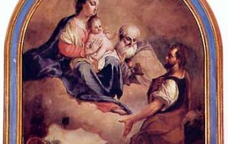 Valgoglio (BG) - Diocesi di Bergamo - Chiesa di Santa Maria Assunta, Dipinto su tela, Madonna con Sant'Antonio Abate che appare a San Lucio Martire, Saverio dalla Rosa (1790 ca.)
