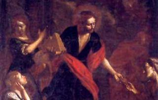 Brescia (BS) - Diocesi di Brescia - Chiesa di San Giuseppe, Dipinto su tela, La carità di San Lucio, Francesco Paglia (1675)