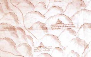 """Particolare della carta geografica seicentesca: compaiono Cavargna """"terra grossa dove sono gli Cavargnoni che vanno cercando per tal santo"""" e """"San Luguzon: villaggio dove si fa una fiera alla sua festa che è alli 15 de giugno (in realtà il 12 luglio)"""", Parma, Archivio di Stato, Mappe e disegni"""