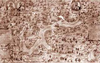 Carta corografica del Lago di Lugano, XVIII secolo: In alto a destra vi figurano la Val Colla e la Val Cavargna con l'icona di San Lucio martire (Collezione Privata)