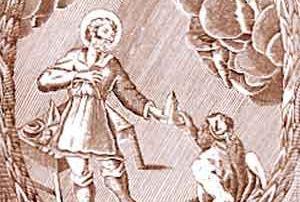 """""""San Lucio, protettore dell'Arte de' Lardaroli, la di cui festa si celebra alli XII di Luglio"""": Incisione parmigiana del XVII secolo (Parma, Archivio di Stato)"""