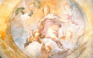 Passo di San Lucio – Cavargna (CO) – Oratorio di San Lucio - San Lucio in gloria, affresco sulla volta del presbiterio, opera di Giovan Battista Pozzi.