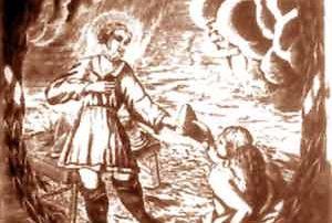 Parma (PR) - Oratorio delle Cinque Piaghe, Dipinto su tela (XVII sec.), perduto - L'antichissima e potente Arte dei Lardaroli di Parma - secondo lo Statuto del 1459 - aveva il diritto di vendita esclusiva di formaggio, carni salate, olio di oliva e di semi, pesci freschi, salsicce, interiora e burro. Notevole importanza rivestiva, per l'Arte, il culto del santo protettore San Lucio - solennemente venerato il 12 luglio - che dal Seicento all'Ottocento risulta effigiato nelle licenze e sui documenti ufficiali dell'Arte stessa ed il cui dipinto - riprodotto nell'incisione qui riportata e oggi purtroppo perduto - si trovava fino al 1913 nell'Oratorio delle Cinque Piaghe, sede dell'Arte, poi sconsacrato e ridotto ad uso profano.